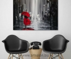 Black and white abstraction with red, size 60x80 cm 15$