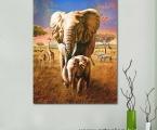 Elephants, size 60x90 cm
