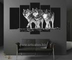Modular panel of wolves in a black interior, size 90x140 cm. Цена 35 у.е. (темное небо можно украсить мелкими стразами, для эффекта блеска звезд)