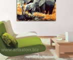 Picture of elephants, size 60x70 cm