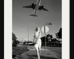 Girl on the background of an airplane,