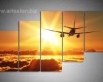 Sky, sunset, airplane, size 100x160 cm. Цена 35 у.е.