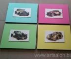 Car 4. Ретро авто, Объемные планшеты, толщина 2 см. сверху наклеена мебельная плита с изображением, фото покрыто защитным лаком, цена изделия зависит от размеров