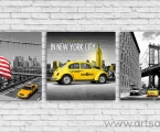 Taxi, 3 panels, dimensions 60x60 cm
