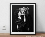 Girl with Lion frame_size 50x49 cm