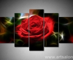 Polyptych Red rose, the size of 100x180 cm.