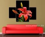 Red lily. Размер средней части 58х97 см. Ширина всей картины 125 см. цена 30 у.е. (по желанию картину можно украсить мелкими стразами для эффекта капель)