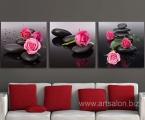 Roses on stones, dimensions 60x60 cm. цена за комплект 35 у.е.(можно украсить мелкими стразами) Жесткие и легкие планшеты, вид мебельной плиты, внутри они полые, толщина 2 см, фото покрыто защитным лаком, матовым или глянцевым. Модули легко и плотно крепятся к стене за край, не надо никаких крючков и креплений. Наши работы нельзя порвать, проткнуть, они не боятся влаги в отличии от картин на холсте и не такие опасные как картины на стекле. (которые дают сильные блики, отражения, там видны только цветные пятна) Наша печать не выгорает, не выцветает, гарантия на долгие годы. Аналогов наших работ и технологии нет нигде. Суперкачество!