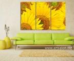 Triptych of sunflowers. The size is 100x150 cm. Цена 35 у.е. Легкие, крепкие панели мдф с фотопечатью. Картина покрыта защитным лаком, она не выцветает и не выгорает как картины на стекле и пластике (там используют Китайскую самоклейку и ламинацию) Рынок забит печатными изделиями, картины продают ка пирожки, но многие люди не разбираются в технологии и долговечности работ, не знают что сделано и как. Мы вам предлагаем самые качественные картины нарисованные красками и печатные, но даже печатные картины выглядят солидно и богато, после покрытия акриловым лаком.