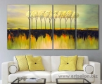 Painting, art deco, 4 panels, trees, size 80x170 cm