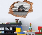 Hole in the wall, children's room, military helicopter, size 60x85 cm