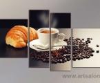 Coffee 4 segment. Цена картин зависит от размеров, укажите ширину всей картины