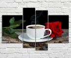 Modul picture. Любые картины могут быть как модульные из частей так и одинарные в рамке. Размер модульной картины чашка кофе и роза 100х165 см. цена 250 тыс сум (предзаказ 2,3 дня)