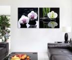 Feng Shui panels orchids and stones. Размеры модулей 60х60 см цена за комплект 20 у.е. Модульные декоративные панели МДФ с фотопечатью и покрытием лака. Наши картины легкие, объемные (толщина 2 см) крепкие и безопасные, в отличии от картин на стекле, которые блестят и имеют дешевый вид. Даже самая качественная печать со временем выцветает, она становится бледной, а солнечный свет только ускорит этот процесс. Наша печать и качество работы не имеет аналогов. Вся печать покрывается защитным акриловым лаком, при помощи ультрасовременного распылителя которым лакируют дорогие авто или мебель. Как правило, большинство производителей печатают на Китайской фотобумаге, эта бумага бледнеет при попадании на нее солнечного света, у нас другая печать и технология, поэтому наши краски будут всегда яркие, не боятся влаги и долгие годы будут радовать вас. Из-за отсутствия блеска матовые картины выглядят более сдержанно и очень солидно.