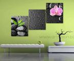 Stones, orchid triptych. Размер каждой части 60х50 см. цена за комплект 30 у.е. (картину можно немного украсить мелкими стразами для блеска капель воды)