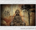 Triptych Buddha, size 80x130 cm