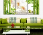 Triptych, orchid and bamboo, size 60x135 cm