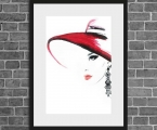 Glamorous drawing, girl in a hat