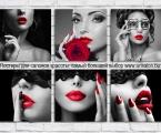 Poster Salon black and red. Большой выбор постеров так же в разделе для Салонов красоты Модульные декоративные панели МДФ с фотопечатью. Наши картины легкие, объемные (толщина 2 см. по краям брусок, внутри модули полые и легкие.) они крепкие и безопасные в отличии от картин на стекле, которые блестят и имеют дешевый вид, так же стекло это хрупкий и опасный материал (на стекле делают потому что это быстро, отрезают кусок стекла и на заднюю сторону клеют Китайскую самоклейку) настоящие модули делать тяжело, нужны специалисты по мебельной работе и станки) картины на оргстекле и акриле тоже имеют свои минусы, они мутнеют со временем и выделяют вредные вещества в теплое время. Даже самая качественная печать со временем выцветает, она становится бледной, а солнечный свет только ускорит этот процесс. Как правило все призводители печатают на Китайской бумаге, потом делают ламинацию, это быстрый и дешевый способ покрыть печать (вся печать делается на водных чернилах, поэтому ламинация дает возможность иногда протирать картину. Все наши картины и фото покрываются защитным акриловым лаком, матовым или глянцевым при помощи специального распылителя которым лакируют автомобили или мебель, поэтому наши картины яркие резкие не боятся воды и долгие годы сохраняют свои цвета. Из-за отсутствия блеска матовые картины выглядят более сдержанно и очень солидно. Вот что пишет дизайнер из компании Apple. Я больше предпочитаю матовые картины, глянец категорически неприемлю, мой выбор обусловлен тем, что глянцевые картины бликуют при свете, и на них смотришь как в зеркало, где видно только твое изображение. Матовые картины можно смотреть независимо от того как и откуда свет падает на нее.