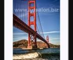 Golden Gate Bridge, natural wood frame, size 60x100 cm
