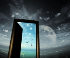 Moon-door-sky-bird-rain