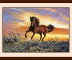 Horse 03 размер 70х90 см. Рамка натуральное дерево цвет орех, цена 30 у.е.