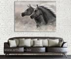 Panel, Arab Horses, size 60x90 cm