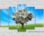 Money tree, size 80x130 cm. Цена 30 у.е. Наши модульные картины сделаны на панелях МДФ они легкие, объемные (толщина 2 см. Они крепкие и безопасные в отличии от картин на стекле (стекло хрупкое, тонкое и тяжелое, картины сильно блестят и имеют дешевый вид, так же стекло это хрупкий и опасный материал) на стекле делают потому что это дешево и быстро (на кусок стекла клеют Китайскую самоклейку) нНши модули делать сложно, нужны специалисты по мебельной работе и станки. Картины на орг стекле и акриле тоже имеют свои минусы, они мутнеют со временем и выделяют вредные вещества в теплое время. Даже самая качественная печать со временем выцветает, она становится бледной, а солнечный свет только ускорит этот процесс, поэтому наши картины покрываются защитным лаком, другие производители после печати делают ламинацию (эта пленка делает картину не резкой и не защищает от солнечного света) Наши картины и фото всегда яркие, резкие не боятся воды и долгие годы будут радовать вас. Из-за отсутствия блеска матовые картины выглядят более сдержанно и очень солидно. (Вот что пишет дизайнер из компании Apple, я больше предпочитаю матовые картины, глянец и стекло категорически не приемлю, мой выбор обусловлен тем, что глянцевые картины дают сильные блики и на них смотришь как в зеркало, где видно помещение и твое изображение, матовые картины можно смотреть независимо от того как и откуда свет падает на нее)