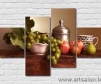 Modern art still life grapes with apples, size 90x130 cm. Наши модульные картины сделаны на панелях МДФ они легкие, объемные (толщина 2 см. Они крепкие и безопасные в отличии от картин на стекле (стекло хрупкое, тонкое и тяжелое, картины сильно блестят и имеют дешевый вид, так же стекло это хрупкий и опасный материал) на стекле делают потому что это дешево и быстро (на кусок стекла клеют Китайскую самоклейку) нНши модули делать сложно, нужны специалисты по мебельной работе и станки. Картины на орг стекле и акриле тоже имеют свои минусы, они мутнеют со временем и выделяют вредные вещества в теплое время. Даже самая качественная печать со временем выцветает, она становится бледной, а солнечный свет только ускорит этот процесс, поэтому наши картины покрываются защитным лаком, другие производители после печати делают ламинацию (эта пленка делает картину не резкой и не защищает от солнечного света) Наши картины и фото всегда яркие, резкие не боятся воды и долгие годы будут радовать вас. Из-за отсутствия блеска матовые картины выглядят более сдержанно и очень солидно. (Вот что пишет дизайнер из компании Apple, я больше предпочитаю матовые картины, глянец и стекло категорически не приемлю, мой выбор обусловлен тем, что глянцевые картины дают сильные блики и на них смотришь как в зеркало, где видно помещение и твое изображение, матовые картины можно смотреть независимо от того как и откуда свет падает на нее)