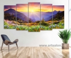 Beautiful sunset in the mountains, size 100h190 cm. Цена 40 у.е. (заказ 2-5 дней) Наши модульные картины сделаны на панелях МДФ, они легкие, крепкие и безопасные в отличии от картин на стекле (стекло хрупкое, тонкое и тяжелое, картины сильно блестят, дают отражения как в зеркале, картину плохо видно и у них дешевый вид, так же стекло это хрупкий и опасный материал) на стекле делают потому что это дешево и быстро. Картины на орг стекле и акриле тоже имеют свои минусы, они мутнеют со временем и выделяют вредные вещества в теплое время. Даже самая качественная печать со временем выцветает, она становится бледной, а солнечный свет только ускорит этот процесс, поэтому наши картины покрываются защитным лаком, другие производители после печати делают ламинацию (эта пленка делает картину не резкой и не защищает от солнечного света) Наши картины и фото всегда яркие, резкие не боятся воды и долгие годы будут радовать вас. Из-за отсутствия блеска матовые картины выглядят более сдержанно и очень солидно. (Вот что пишет дизайнер из компании Apple, я больше предпочитаю матовые картины, глянец и стекло категорически не приемлю, мой выбор обусловлен тем, что глянцевые картины дают сильные блики и на них смотришь как в зеркало, где видно помещение и твое изображение, матовые картины можно смотреть независимо от того как и откуда свет падает на нее)