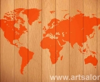 World map in high-tech style, panel, size 60x100 cm.