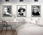 3 posters Grace Kelly, Audrey Hepburn, Marilyn Monroe, size 60x50cm
