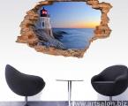 3D наклейки можно использовать в любом помещении, в кафе полная иллюзия что за стеной у вас красивый морской закат в Греции