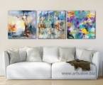 3 panels abstraction size 60x60 cm Картины фото и постеры можно оформить в рамки из натурального дерева, тонкие хай тек, строгие прямые или фигурный широкий багет, цвета и размеры любые, можно сделать на планшете (это вид легкой гладкой мебельной плиты, толщина 15-20 мм. так же сделаны модульные картины, это стильный Европейский вариант для современного интерьера) После печати все работы покрываются защитным лаком (картина без лака со временем выцветает и тускнеет, лак защищает от воздействия солнца и ультрафиолета) Наши работы нельзя порвать, проткнуть, они не боятся влаги и не такие опасные как картины на стекле (стекло тонкое, тяжелое, имеет дешевый вид, сильно блестит, дает отражения как в зеркале, там видны только блики, тени, отражение люстры, детали на картине плохо видны, а только дешевый блеск и надо помнить, что стекло это хрупкий и опасный материал!) Любые картины можно украсить стразами (красивый эффект капли воды на цветах или звезды на ночном небе) Вы так же можете заказать картины красками ручной работы. Наши работы - это гарантия качества на долгие годы! Цена зависит от размеров, пишите нам artpost@bk.ru Telegram, WhatsApp (99890) 975-10-05