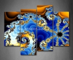 Fractal-Blue-Yellow-Spiral-Pattern-4-Piece-Painting-On-Canvas-Wall-Art-Picture-Print-Abstract-100x125_cm