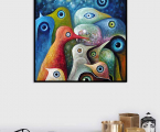 Painting-Multi-color-Abstract-Square-Birds-Canvas-Print-60x60-sm