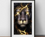 Lion, lightning. Any sizes from A-4 to 60x100 cm