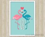 poster-flamingo-art-white-frame