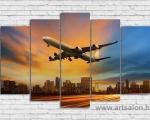 Passenger plane 5 panels, size 100x155 cm