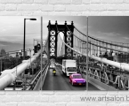 Bridge-car-black-and-color-canvas-print-wall-art