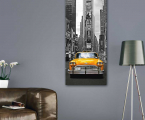 Poster,-panel,-New-York's-yellow-cab,-size-100-x-40-cm