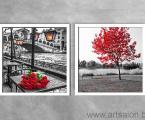 Черно белые с красным модный арт декор рамки белое дерево 60х60-см