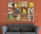 Gustav Klimt Masterpieces. Лучшие работы Г. Климта. Квадратные модули, размер каждой части может быть от 20х20 см. до 50х50 см. Жесткие и легкие модули, толщина 2 см Покрытие матовый лак. Цена зависит от размеров
