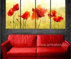 4 panels, poppies, size 80x155 cm