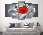 Modular panel of poppies