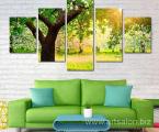 5-Panel-Modern-print-Painting-Tree