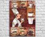 Постер для кофейни и дома, в рамке или на панели под лаком