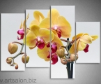 Modular picture yellow orchids size 100x130 cm