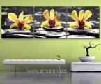 Modulnaya-kartina-orhidei-na-kamnyah-3-chasti-razmer-kajdoy-60x60-sm