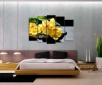 Yellow orchids on a black background-best-wall-art
